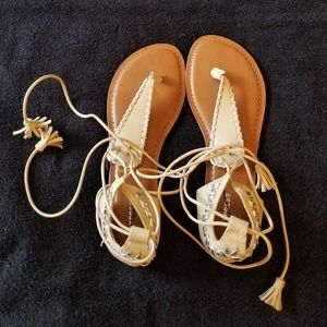 Express Tan Embellished Ankle Wrap Sandals New